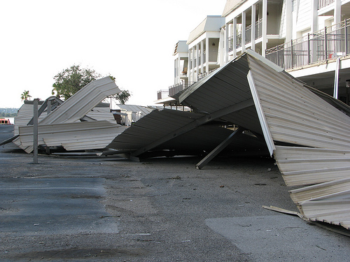 Collapsed car park awning at Balboa
